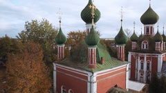 Aerial shot Vladimir Cathedral in Pereslavl-Zalessky, Russia Stock Footage