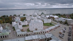 Aerial shot Kremlin and the assumption Cathedral in Rostov the great, Russia Stock Footage