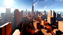 Generic cityscape architecture 3d rendering Stock Illustration