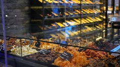 Glass showcases of sweets and nuts shop in Thessaloniki Greece Stock Footage