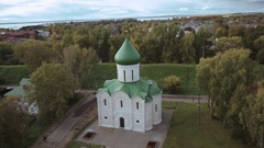 Spaso-Preobrazhensky Cathedral in Pereslavl-Zalessky, Russia, aerial view Stock Footage
