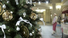 New Year's and Christmas tree decoration in shopping mall Stock Footage