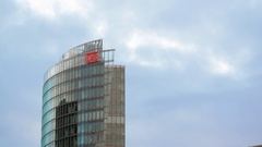 Deutsche Bahn DB skyscraper tower, Potsdamer Platz, Berlin, Germany Stock Footage