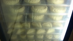 Pie dough rolls baked in a furnace for glass Stock Footage