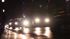 Night traffic in Thessaloniki Greece - running car lights Stock Footage