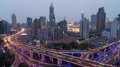 Time lapse of busy elevated road junction & skyline, Shanghai, China Stock Footage