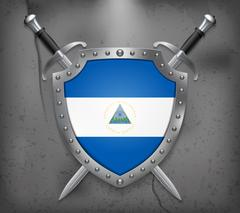 Flag of Nicaragua. Vector Medieval Background Stock Illustration