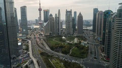 Time lapse of Shanghai Skyline & Financial District with Oriental Pearl Stock Footage