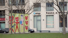 Colorful heart drawing on Berlin wall remains, Potsdamer Platz, Germany Stock Footage