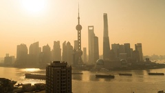 Foggy morning view of Shanghai Skyline & Financial District. Time lapse Stock Footage