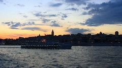 Istanbul Harbor on sunset. Galata Tower and Karakoy region on the background Stock Footage
