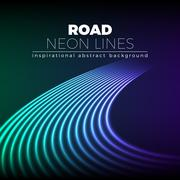 Neon lines background with 80s style shiny road turn Stock Illustration