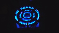 Blue Gas Flame. 4K Stock Footage