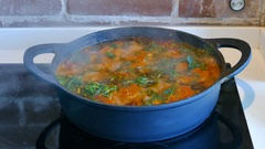 Traditional Moroccan Fish dish in a cooking pot Stock Footage