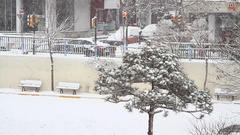 Blizzard and snow storm scene from Istanbul Cold Winter Stock Footage