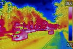 Infrared thermovision image showing lack of thermal insulation on Resi Stock Photos