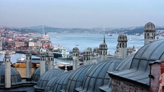 Looking to Istanbul over Suleymaniye Bath, located next to the Mosque Stock Footage