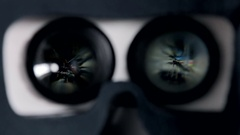 Virtual glasses and the game is projected on the eyepieces Stock Footage