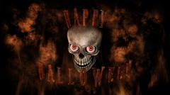 Human Skull With Eyes And Scary, Evil Look Halloween Concept 3D Rendering Stock Illustration