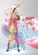 Abstract Dance Music Background For Party Event - Vector Illustration. Stock Illustration