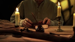 Period scene with pioneer writing in his diary 4k Stock Footage