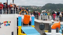 Water game on board cruise ship Stock Footage