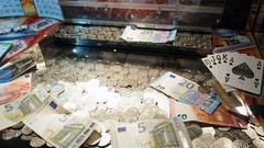 Gaming machines in gambling casino Stock Footage