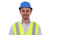 Optimistic Worker Man Wearing Hard Hat Happy Young Adult Engineer Looking Camera Stock Footage