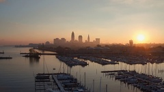 CLEVELAND AERIAL SKYLINE - VIEWED FROM WEST - OVER MARINA Stock Footage