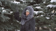 Girl to shake snow from the branches. The snow on the trees Stock Footage