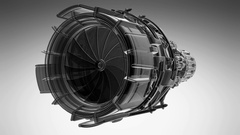 Rotate jet engine turbine of plane, aircraft concept,  Stock Footage