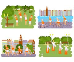 Banners Elderly people doing exercises Stock Illustration