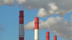 Industrial City Landscape. Smoke in Winter from Pipes Near Railroad. Zoom Out Stock Footage