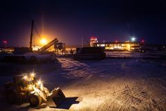 Talakan, building talakan airport in Yakutia Stock Photos