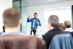 Business presentation on corporate meeting Stock Photos