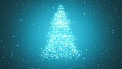 Looped background with Christmas tree of magic particles. Stock Footage