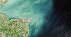 High-altitude overflight aerial of the mouth of the Thames River, England. Stock Footage
