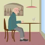 Old woman sitting in a cafe Stock Illustration