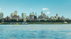 New York, USA: View of Brooklyn skyline from Manhattan across the river Stock Footage