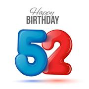 Birthday greeting card template with glossy fifty one shaped balloon Stock Illustration