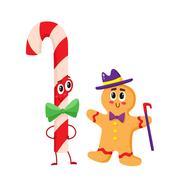Christmas candy and gingerbread funny character, cartoon vector illustration Stock Illustration