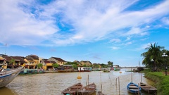 4k timelapse Houng river in Hoi An , Vietnam Stock Footage
