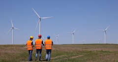 Alternative Energy Worker Men Team Contribution Environmental Field Presentation Stock Footage