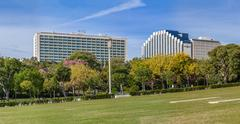 The Four Seasons Ritz (left) and the Intercontinental (right) Hotels. Stock Photos
