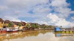 4k timelapse Thu Bon river ,Vietnam Stock Footage