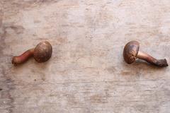 Food or menu background, mushrooms on vintage table Stock Photos