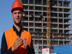 Happy Engineer Man Speech Looking Camera Convinced Modern Building Architecture Stock Footage