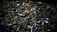 Many of the old bolts and nuts Stock Footage