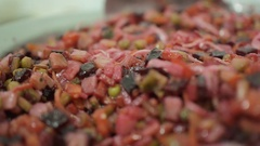Fresh vegetable salad vinaigrette closeup for a healthy diet Stock Footage