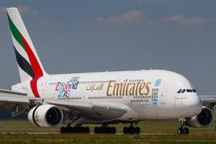 Airbus A380-800 Emirates lands to PRG Airport Stock Photos